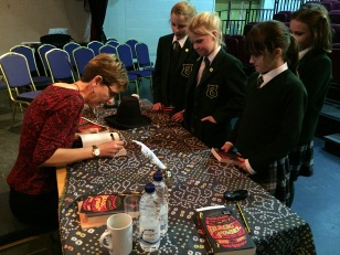 Ally signing books at Edgeborough