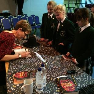 Ally signing books at Edgeborough