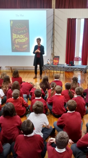 Ally talking to children at Whitchurch C of E Primary, Hampshire