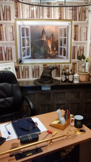 Mr Budd's office Sorting Hat and desk