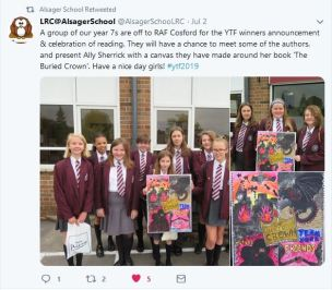 Alsager School Twitter page with picture